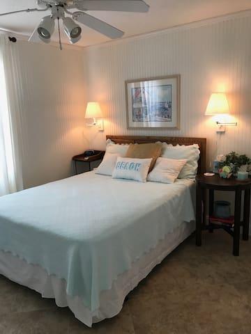 Second floor master bedroom with queen bed