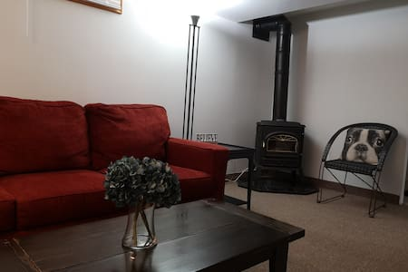 Fully Equipped Basement Apartment  Fireplace