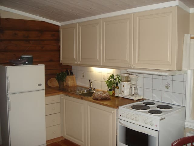 Kjøkken med komfyr og kjøleskap