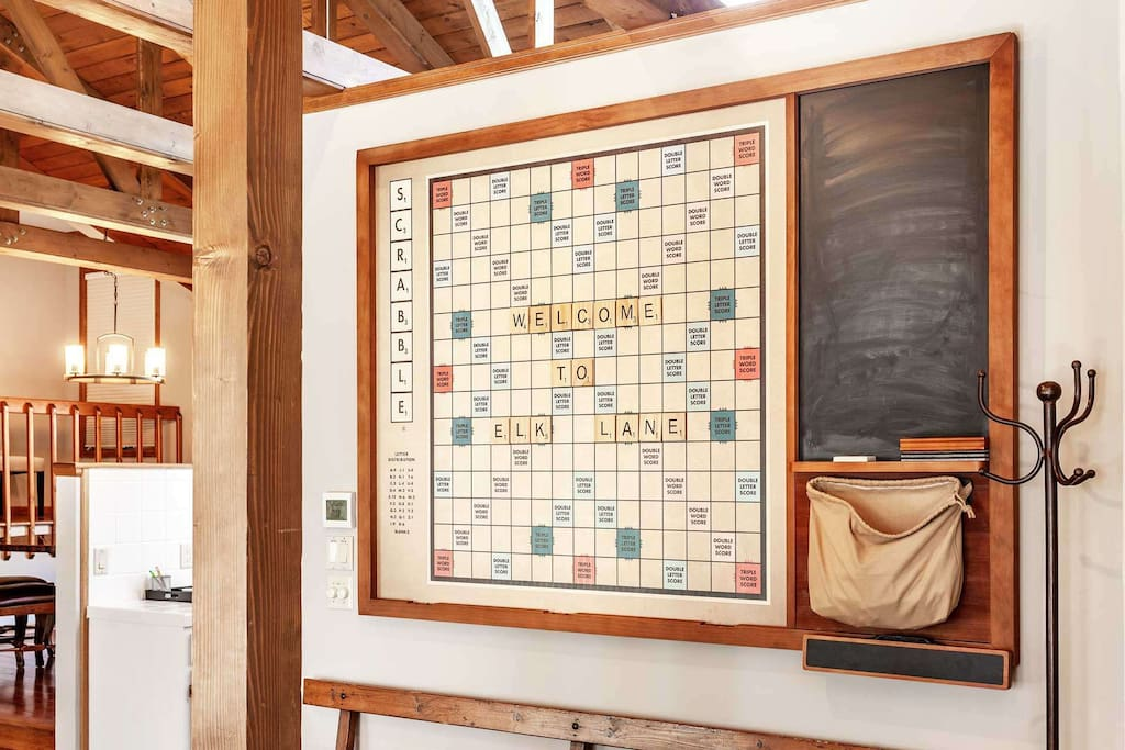 Challenge your friends and family to a game of Scrabble on the oversized magnetic game board.
