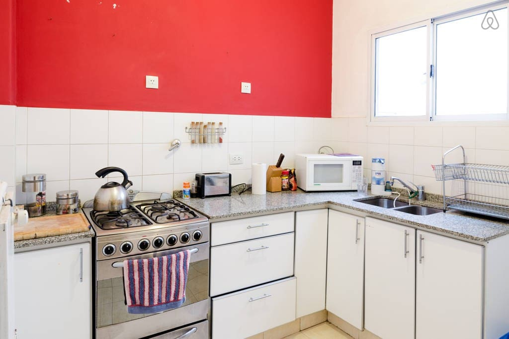 Full and colourful kitchen!