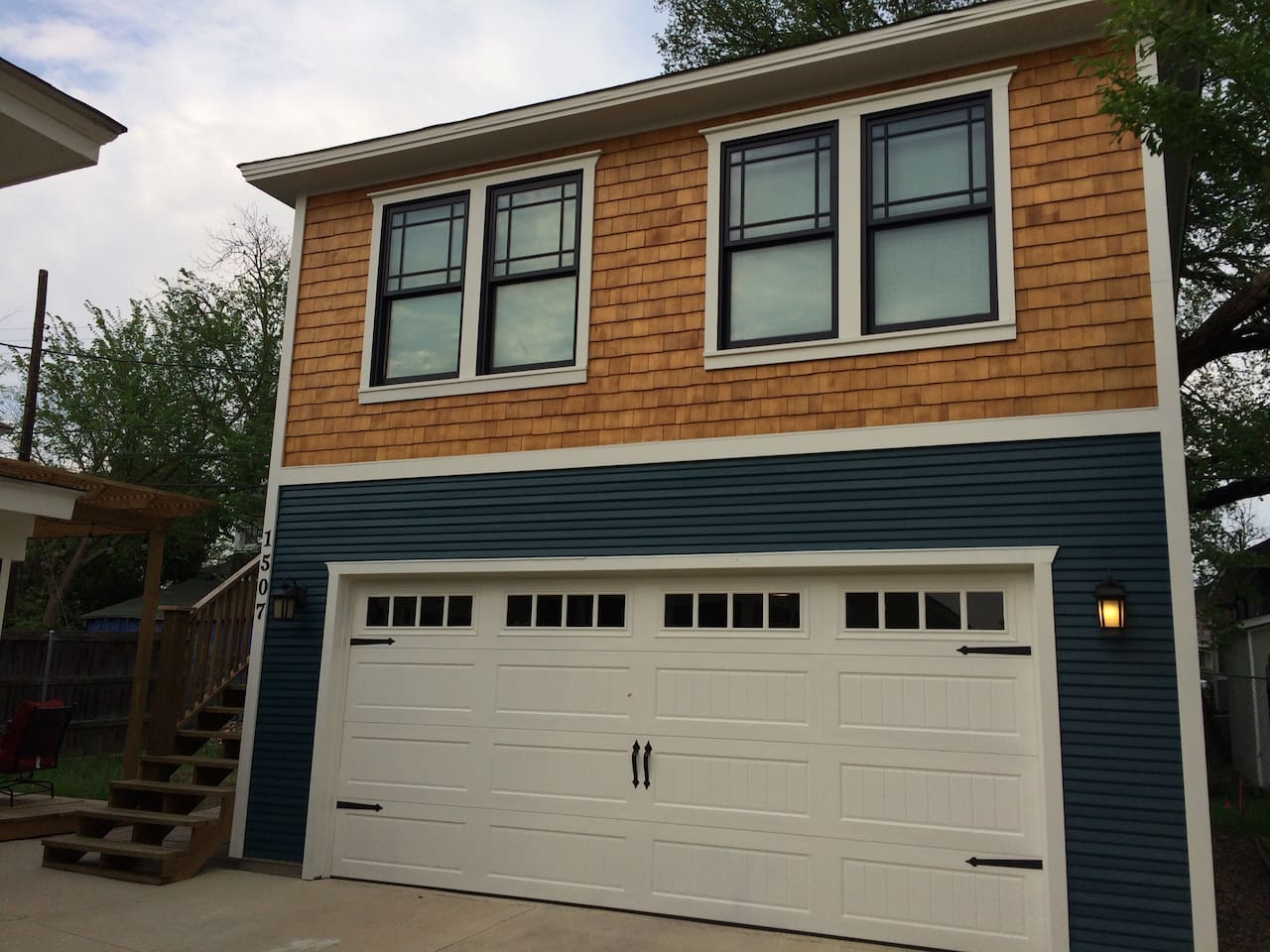 Garage apartment is on the second floor above garage.