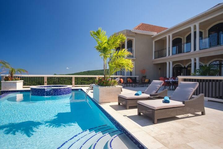 Grand Villa,Infinity Pool, Butler, Caribbean Sea, 2 min to beach! Mimosa 3BR