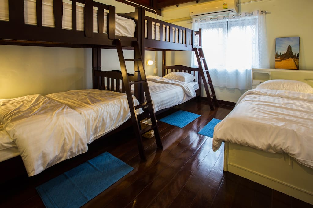 Spacious area for 4-5 members in our private room...our wooden bunk bed is 3.5 ft soft & comfort and clean duvet and pillow.