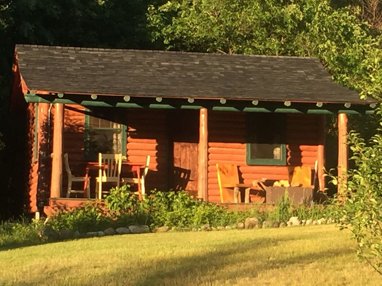 Authentic Adirondack Log Cabin Relax on covered porch with views of ponies, chickens and Whiteface Mountain