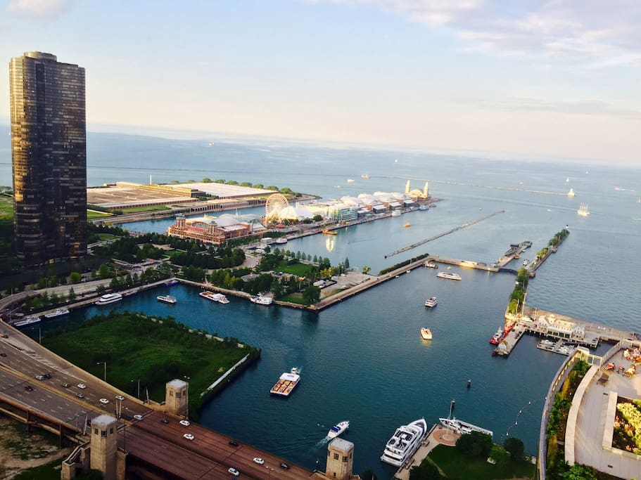 Overview of the neighborhood - Navy Pier is where you see the Ferris wheel.