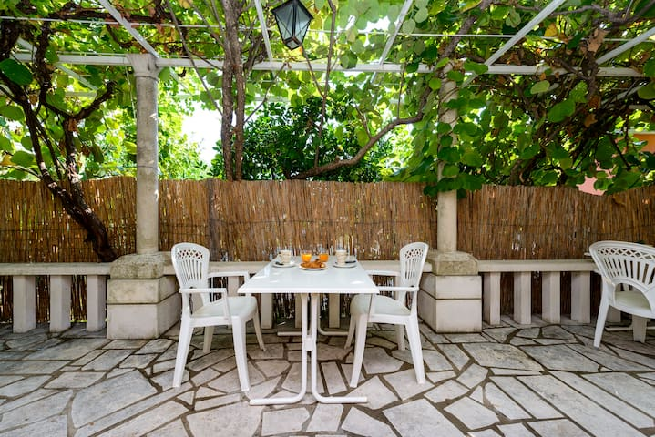 Studio near beach with natural shady terrace