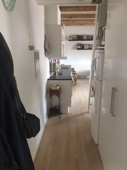 Indgang til lejligheden.   Entrence/hallway