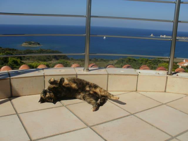 villa-appartements chambre double vue mer piscine - Methoni - Villa