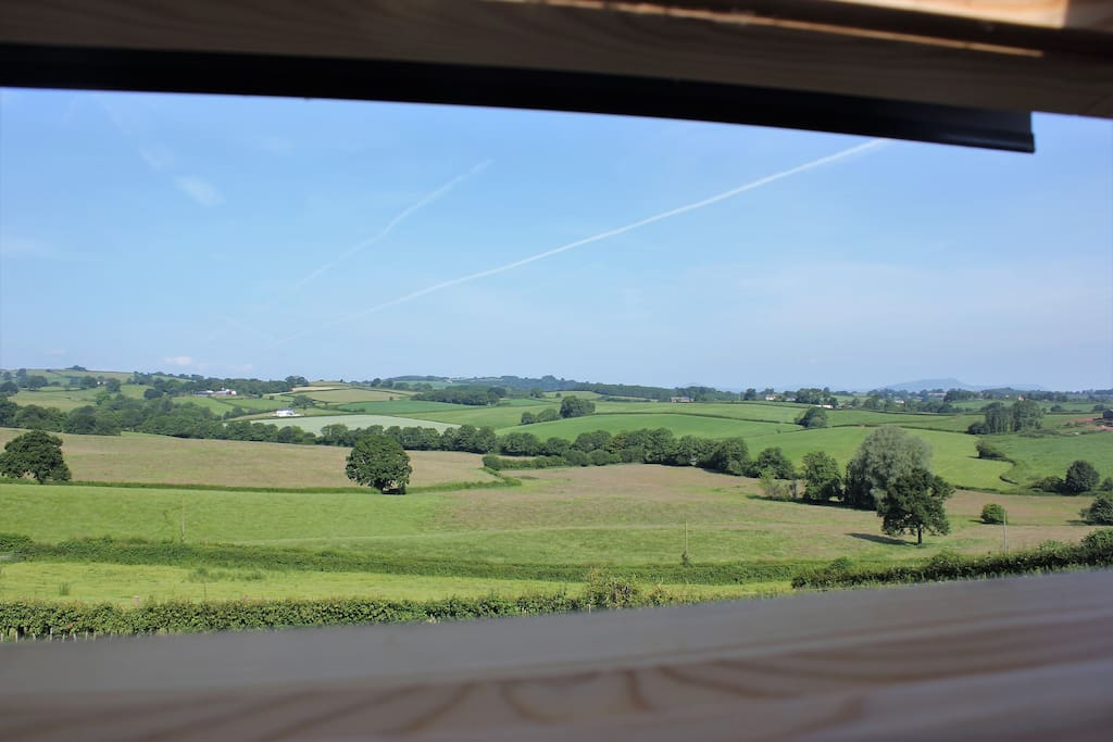 Beautiful view across Monmouthshire countryside from the roof window