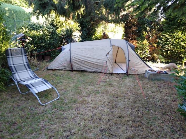 Zelten im Garten in Kandel