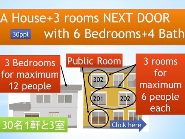 30ppl!6 bed rooms! 4 bath rooms!! - Sapporo - Dom