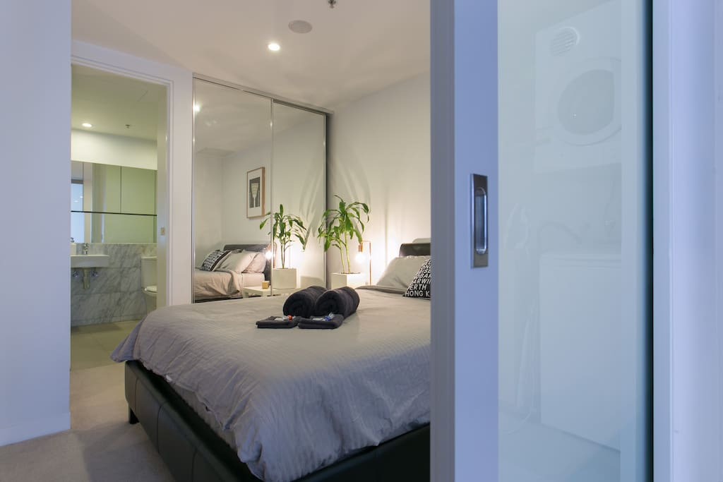 Bedroom with sliding door to close yourself off from the rest of the apartment.