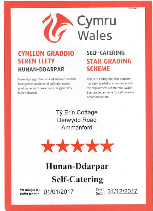 Second year listed by Welsh Tourist Board as Five Star
