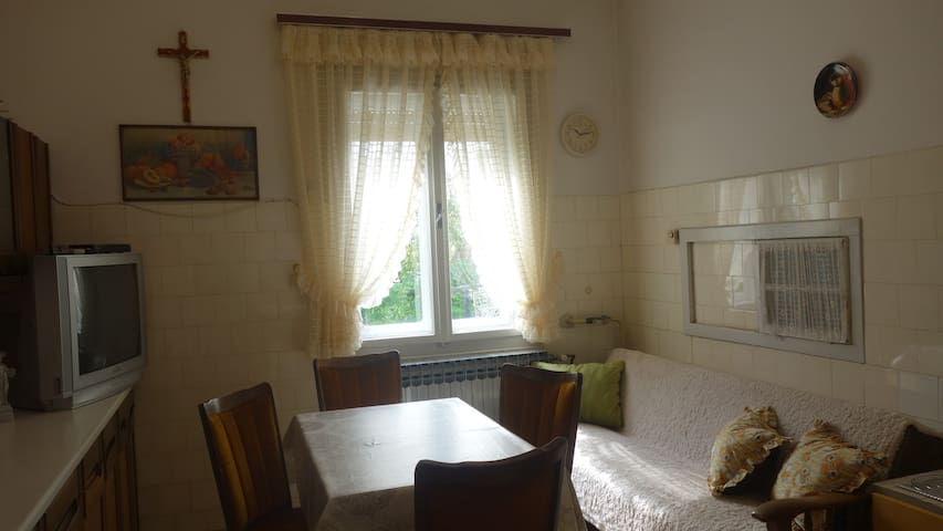 Fully equipped kitchen  with large dinning table and sleeper sofa