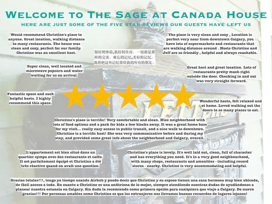 We very much appreciate our guests and, judging from the many five star reviews, they appreciate us too.