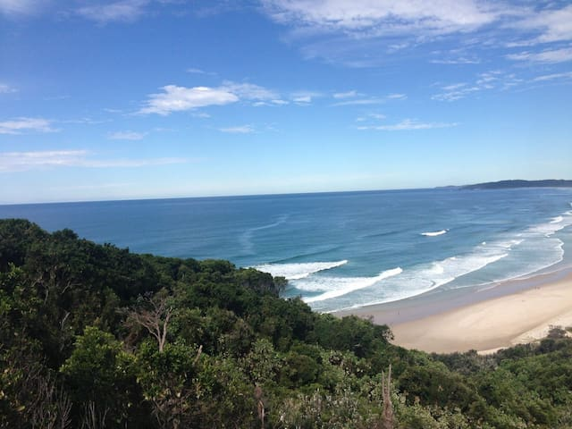 Tallows beach is just around the corner and a great wave in Cosy Corner