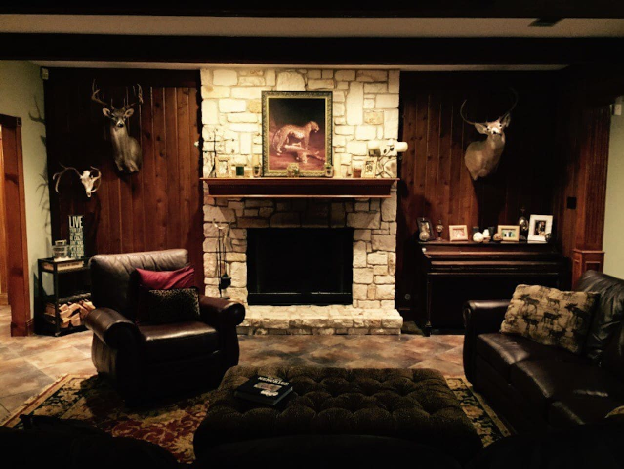 Large, functioning fireplace with wood