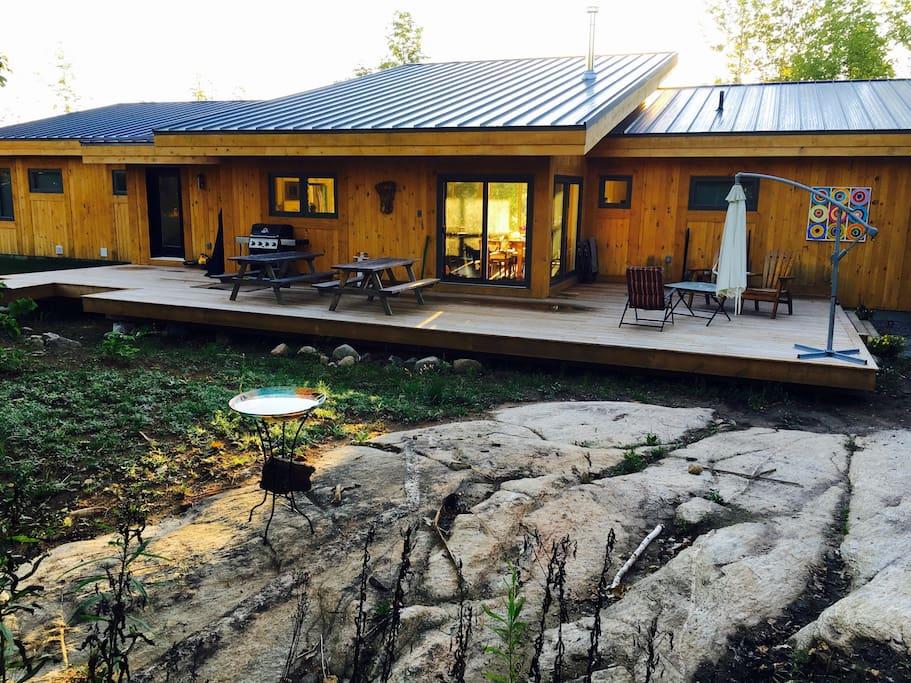 The home is built on a granite ridge