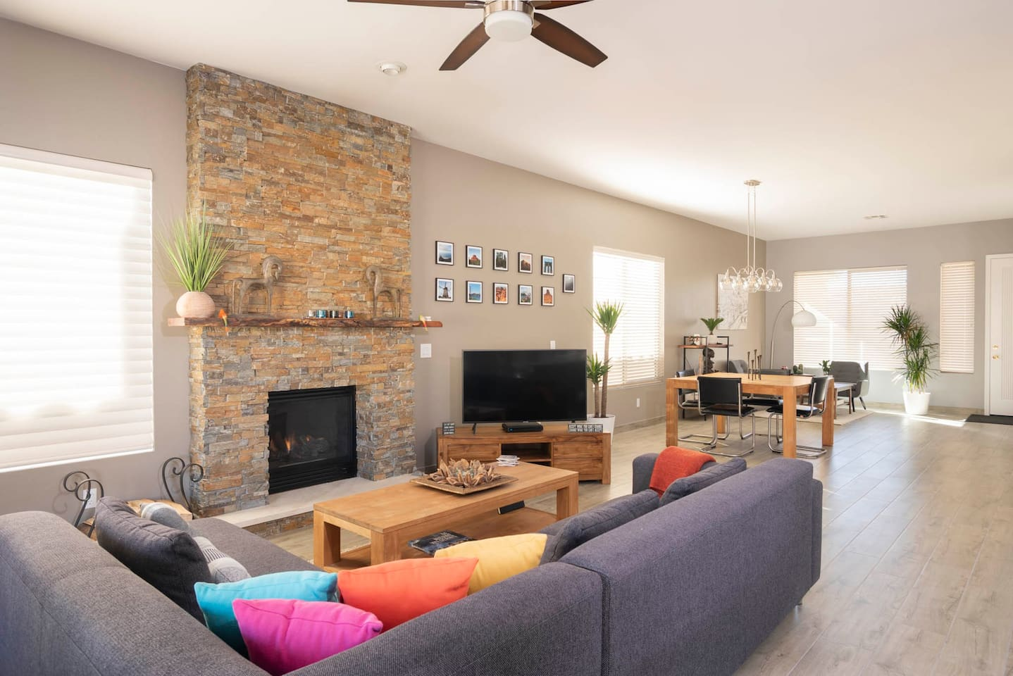 cozy living room with a nice view of the  gas fireplace