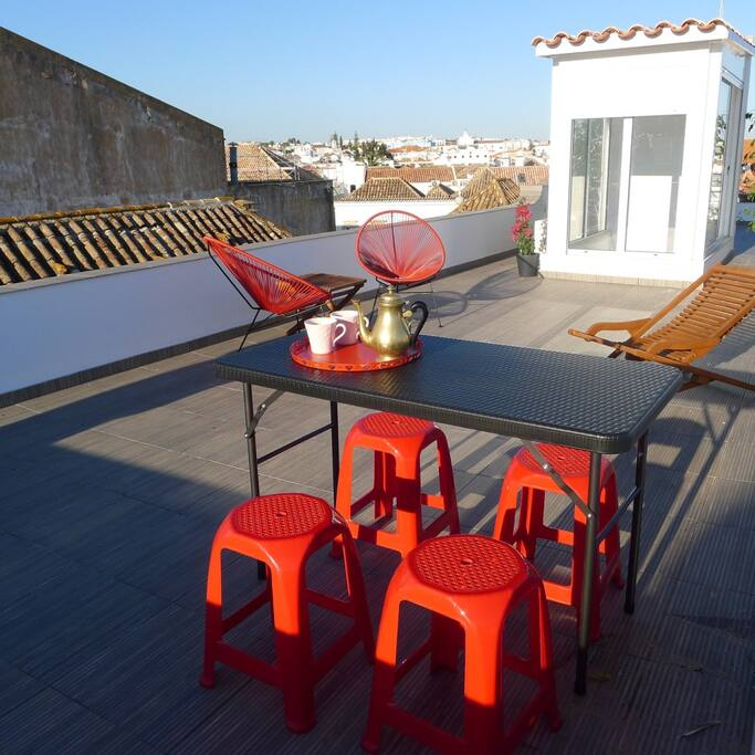 Other chairs are provided and also a bed for sun bath