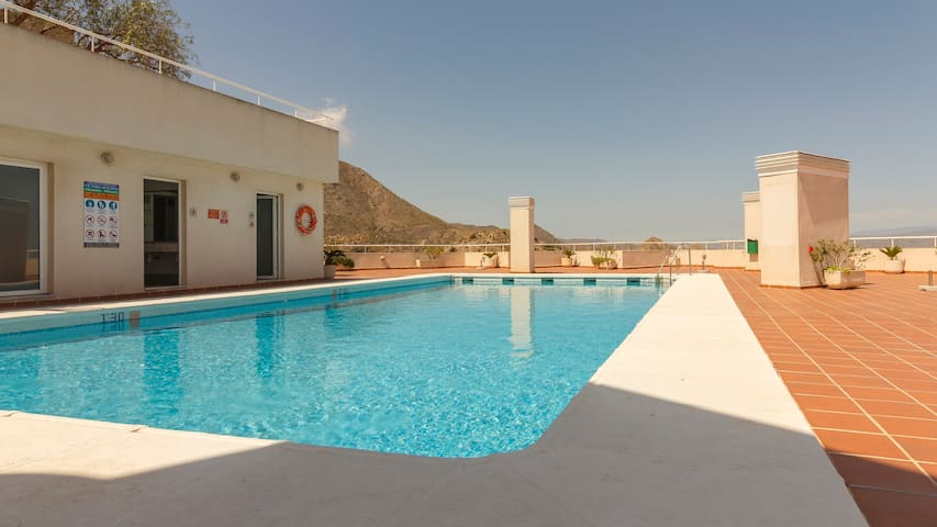 Two bedroom apartment with rooftop pool in Mojacar