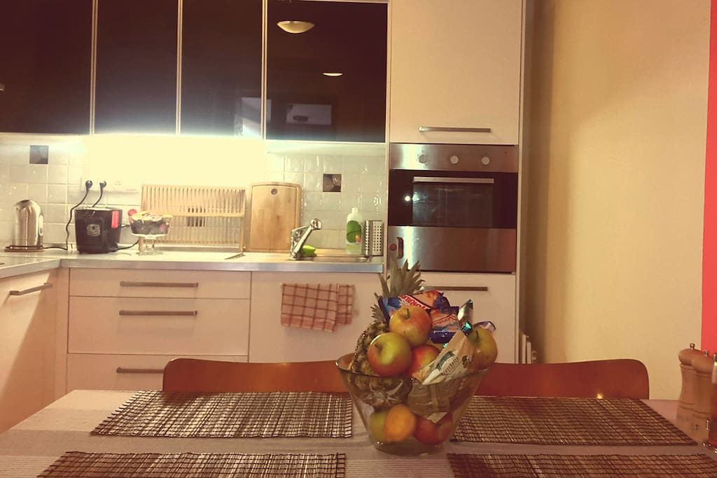 Kitchen with all necessary electrical applicants. If you stay more than 2 days, welcome bowl full of fruits and slovak most popular snacks will wait there for you :)
