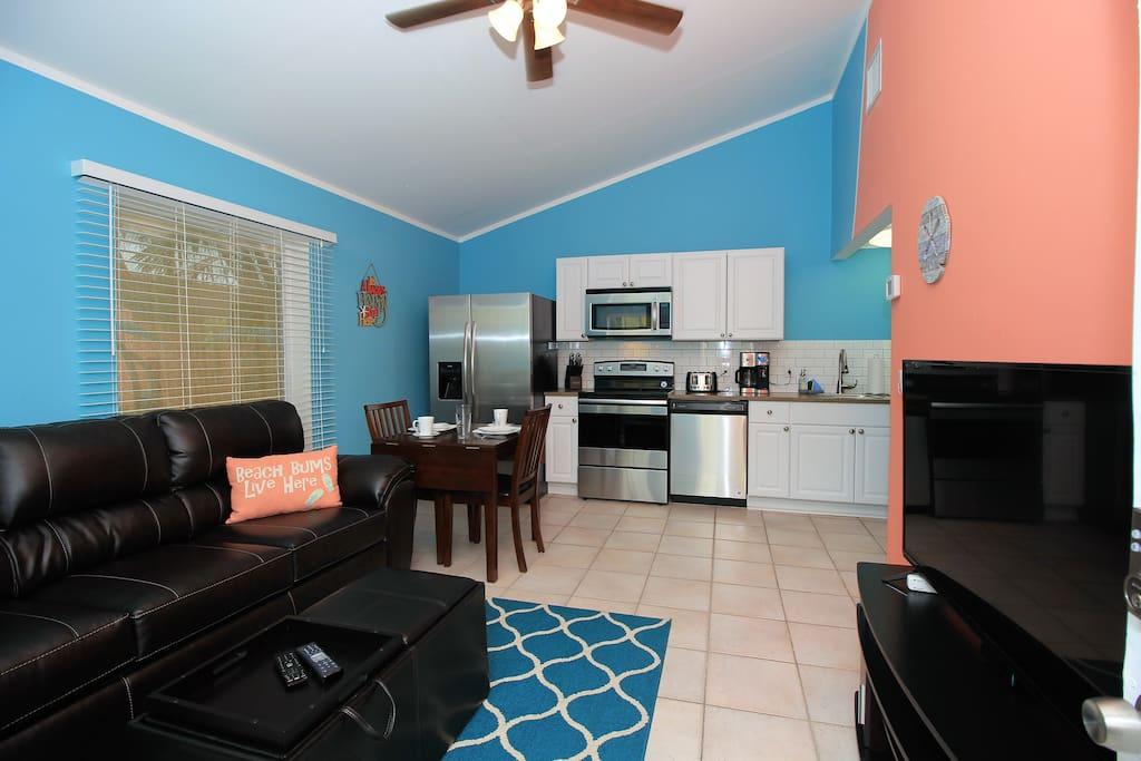 Living room & kitchen.