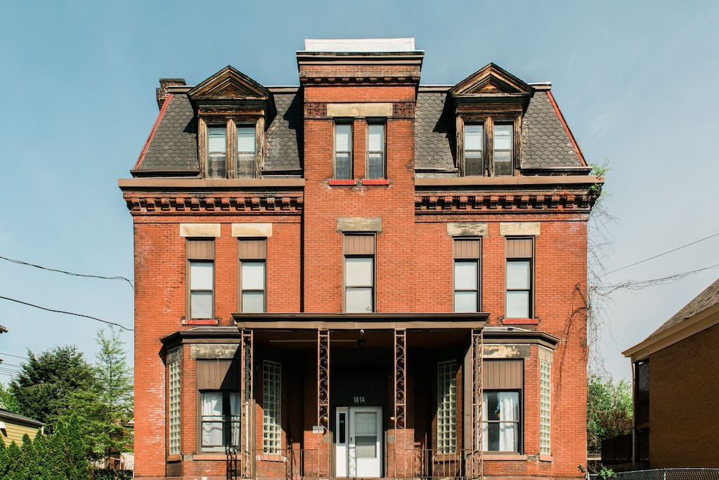 Our apartment is part of this renovated mansion. We're located in historic Troy Hill.