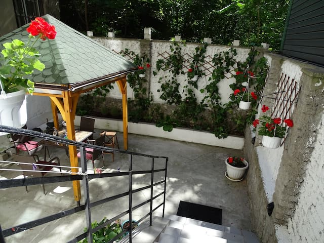 Courtyard garden, great for relaxing and having meals or coffee during hot summer days
