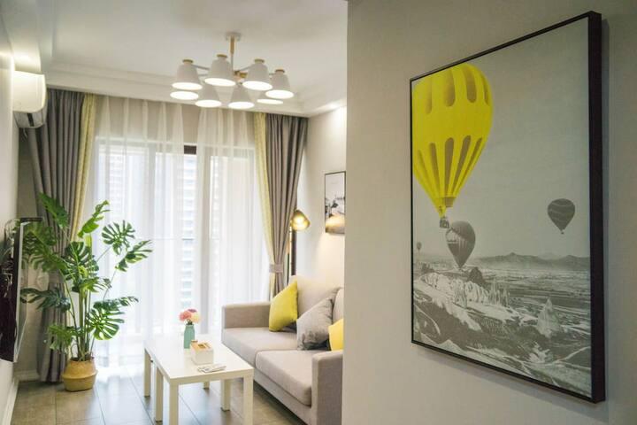 金沙湾商圈-喜居公寓-北欧园景两房一厅