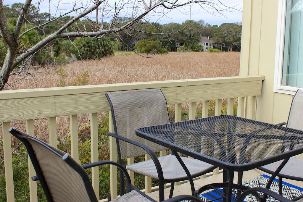 Sip coffee on the entry deck with great marsh views.