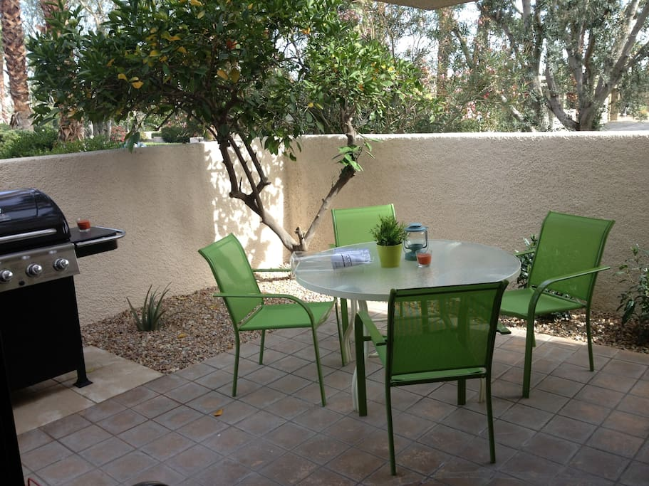 private outdoor patio with propane grill