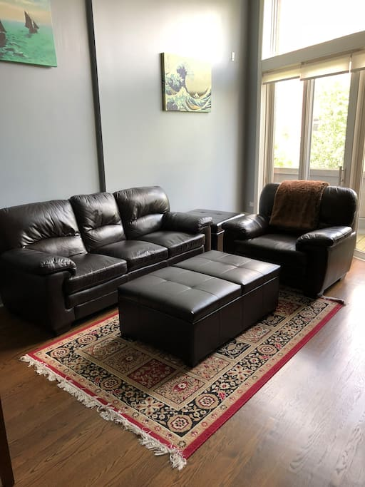 Super comfortable couch and chair for relaxing after a day of exploring!