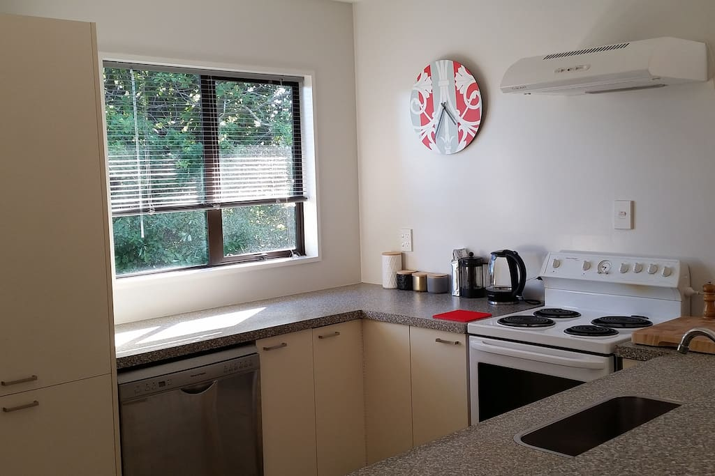 Well equiped kitchen with dishwasher and microwave