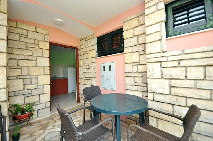 Two Bedroom Apartment, 150m from city center, seaside in Novalja - island Pag, Terrace
