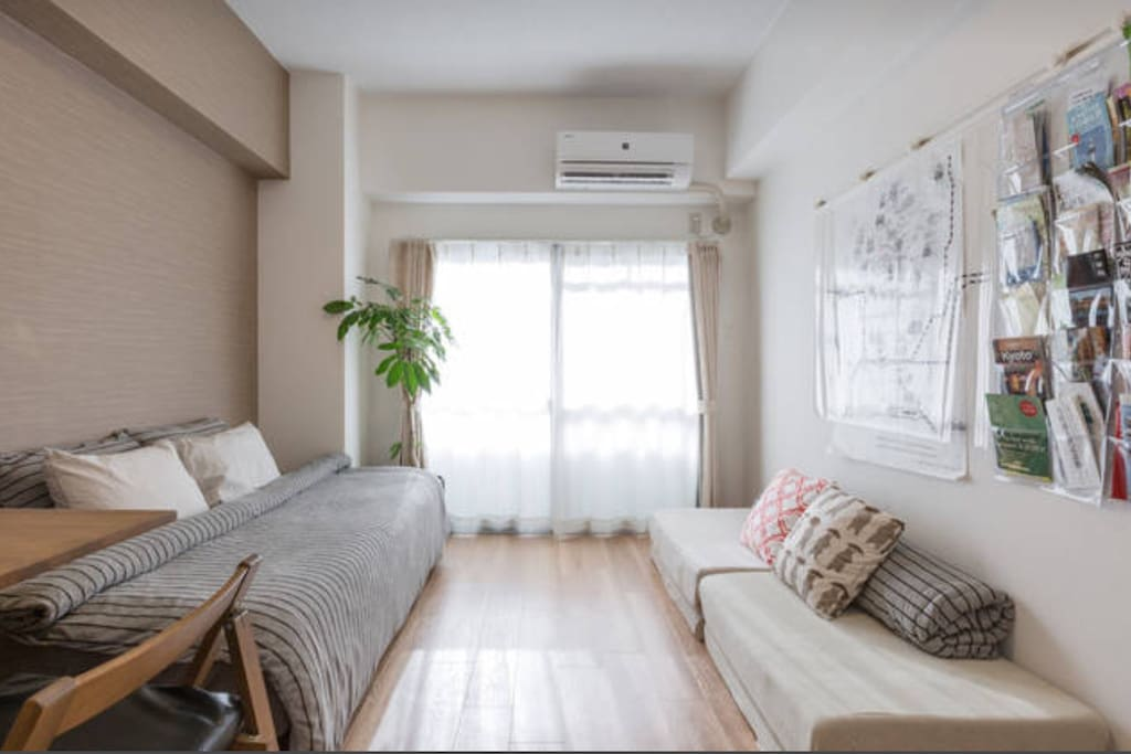 This is a three person stay version. One single sized bed and Two single sized mattress. When you need the third mattress please book as three person.