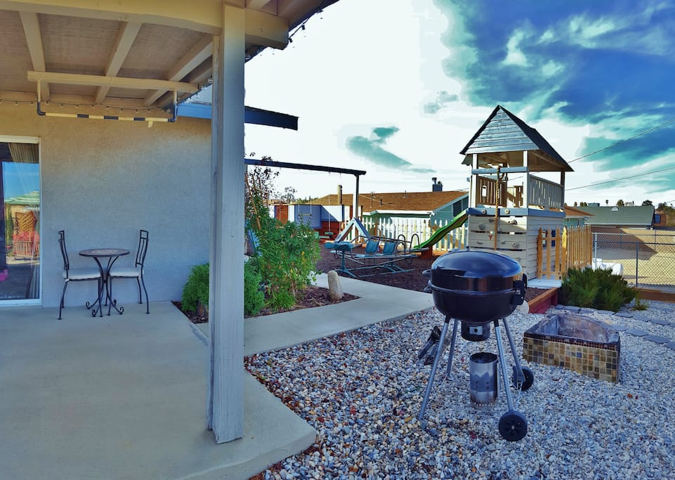 Bistro set, pull-up bar, BBQ, fire pit and kid's playground