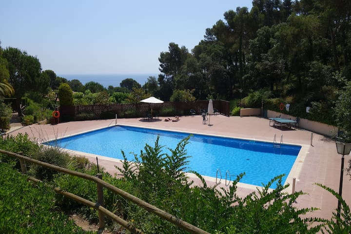 Ground floor studio with communal pool and near Golfet beach