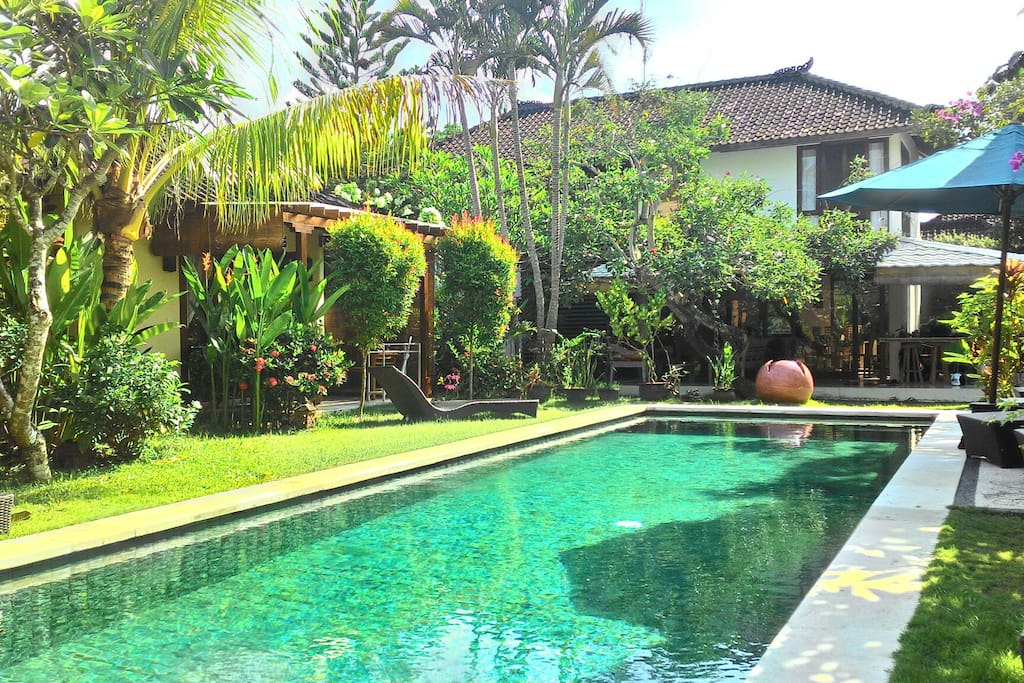 Pool,  main villa 2 bedrooms and 2 bungalows on the side