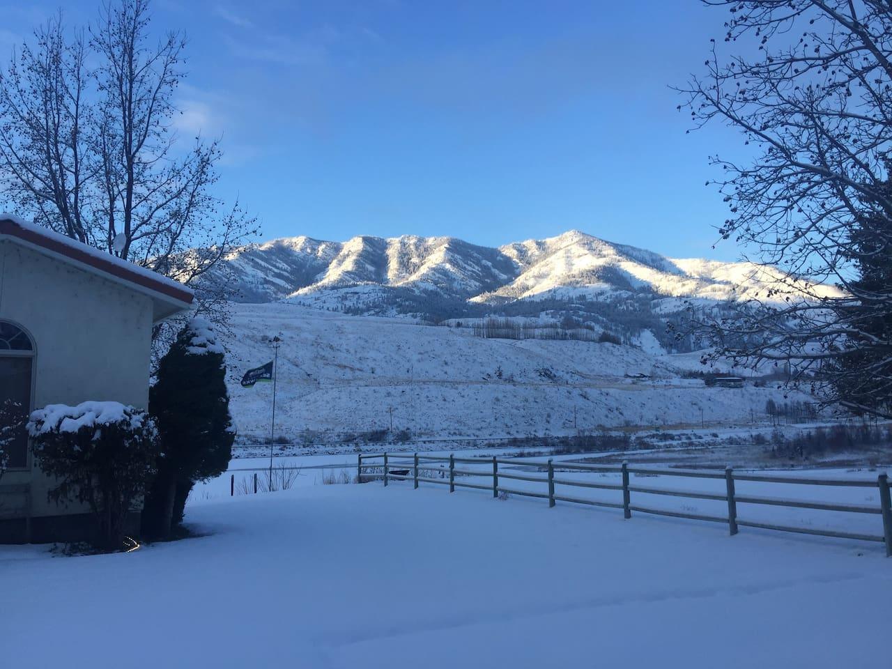 Beautiful view of the Methow River and Billygoat mountain in the winter