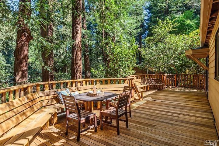 Sunny private deck in redwoods walk 2 downtown MV! - Mill Valley - Townhouse