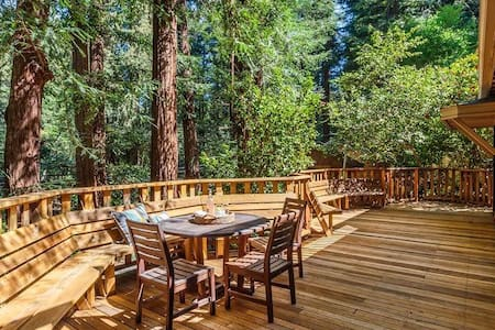 The Deck in the Redwoods @ trails & walk into town
