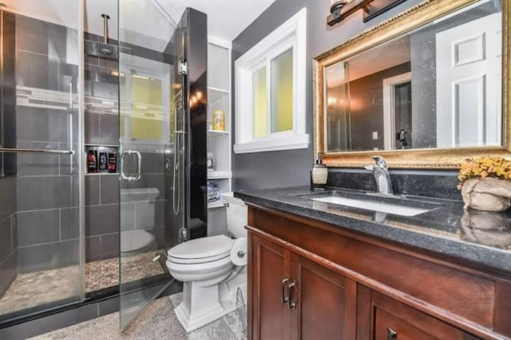 Shared Bathroom with gorgeous standing shower