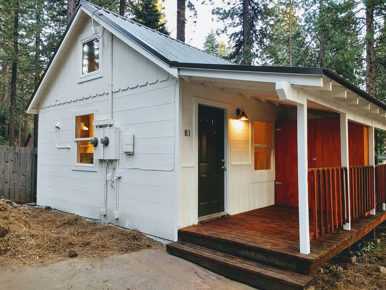 The cabin is on the left side of the duplex.