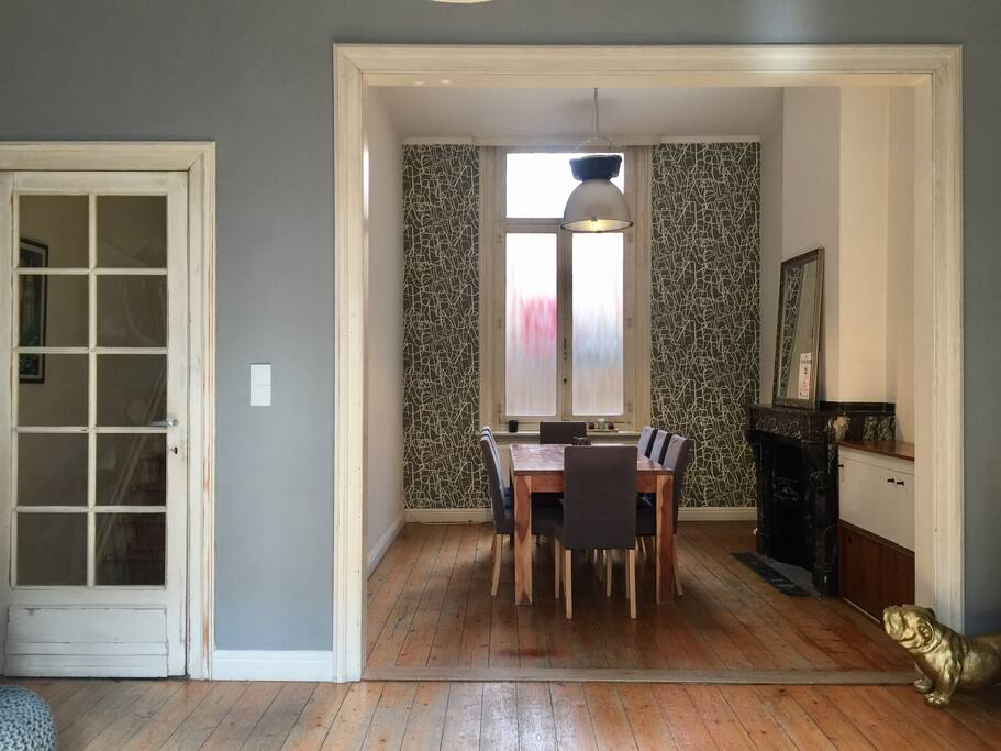 Urban dining room with large dining table