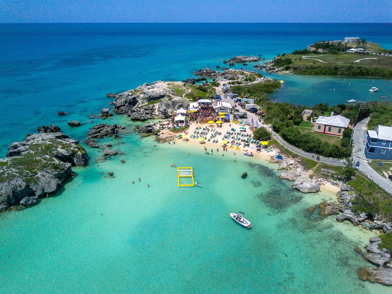 Ariel view of Tobacco Bay and our Beach House. (Dark Blue House)