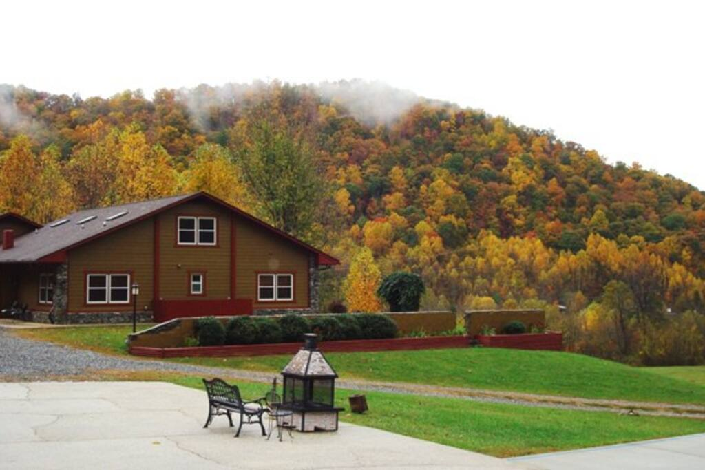 Compassionate Expressions Mountain Inn in Autumn with Fire Pit.
