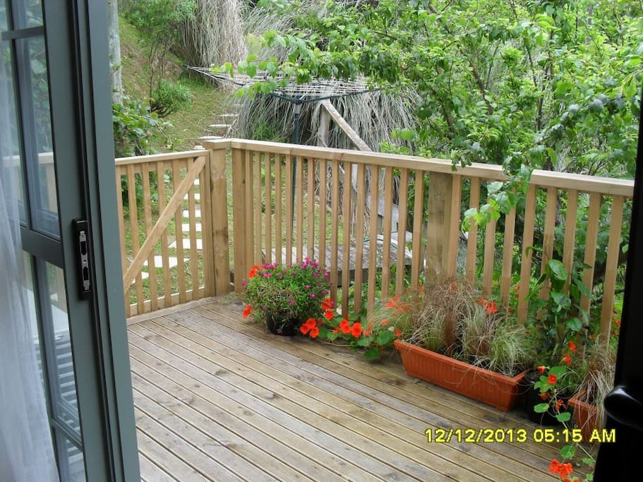 Fenced deck which is safe for a small child
