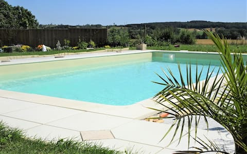 Gite for 2+ in Country House with Pool near Eymet